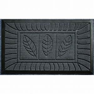 tapis d39entree 45x75cm feuilles gris achat vente tapis With tapis d entrée gris