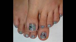 Rock Star Toe Nails Palm Tree & Holographic Glitter - YouTube