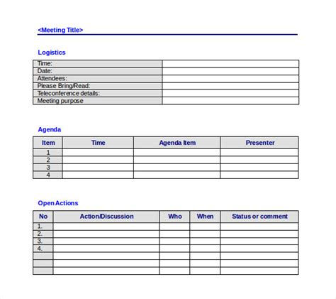 meeting notes template with items 50 meeting agenda templates pdf doc free premium templates