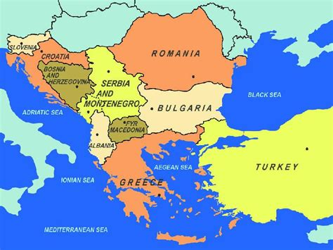 map  southeastern europe including area   east