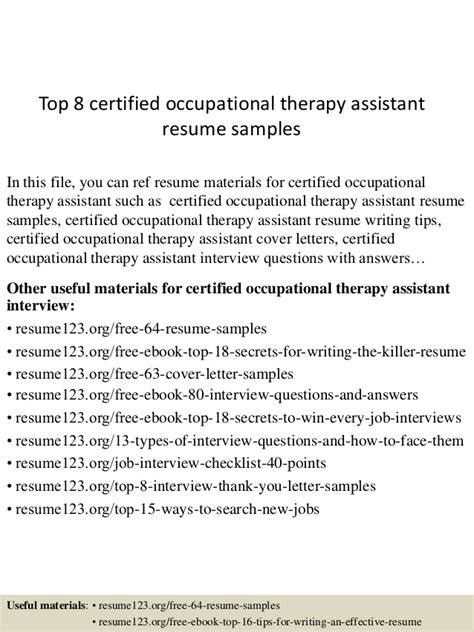 top 8 certified occupational therapy assistant resume sles