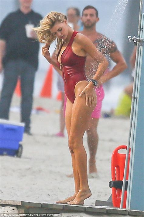 actress from long beach kelly rohrbach showers on beach after filming baywatch