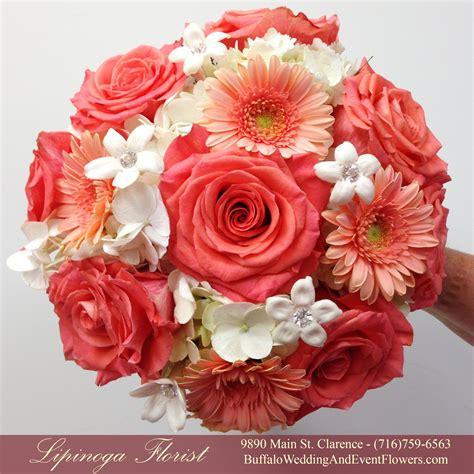 coral wedding flowers buffalo wedding event flowers by