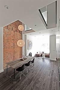 Mur Brique Blanc : parquet flottant dans l 39 int rieur moderne en 105 exemples ~ Mglfilm.com Idées de Décoration