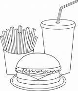 Fries French Coloring Pages Meal sketch template