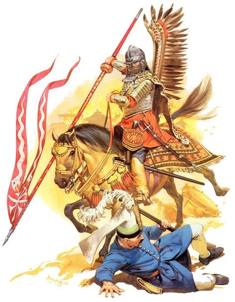 siege pouf charge of the winged hussar against ottoman turks