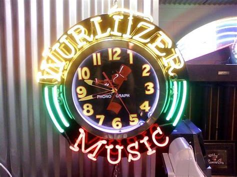 wurlitzer jukebox ad neon light up wall clock