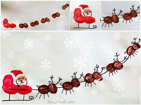 diy paper sleigh kids diy fingerprint santa s sleigh and his reindeer