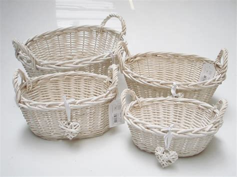 shabby chic storage baskets oval rectangl white french shabby chic wicker kitchen crafts home storage basket ebay