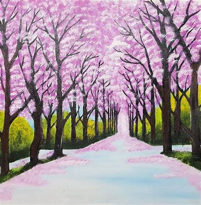 Scenery Painting Artist Knife Month 28in Handpainted