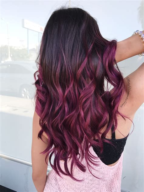 Burgundy Ombré Purple And Magenta Balayage Hair Goals