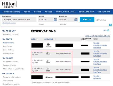 need to change hilton reservation call to keep same