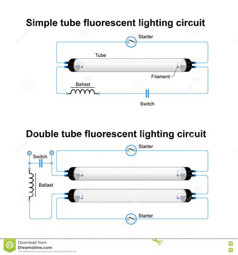 Electrical Wiring Diagram Connecting 2 2 L Fluorescent Light by Single And Fluorescent Lighting Circuit Stock