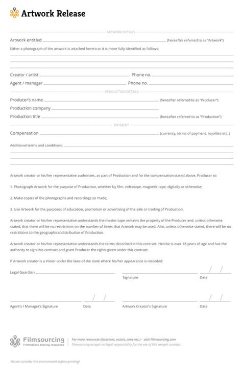 16310 artwork release form 2 19 best images about production paperwork templates