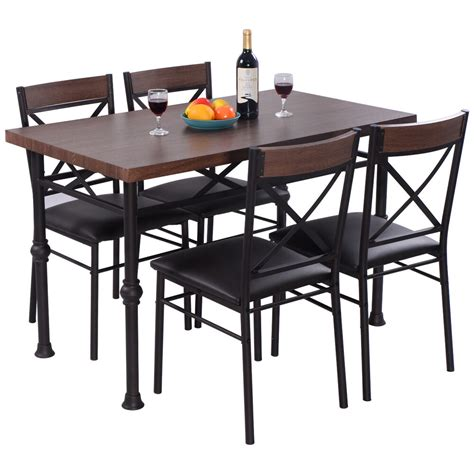 metal kitchen furniture 5 dining set table and 4 chairs wood metal kitchen