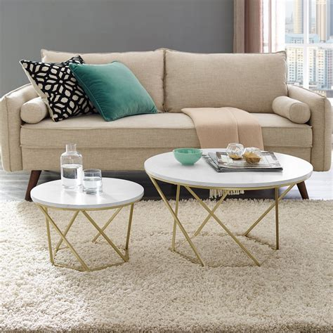 The cocktail or coffee table is the essential compliment to the sofa, and provides balance to your living area. Modern Nesting Coffee Table Set - White Marble/Gold | Nesting coffee tables, Living room accent ...