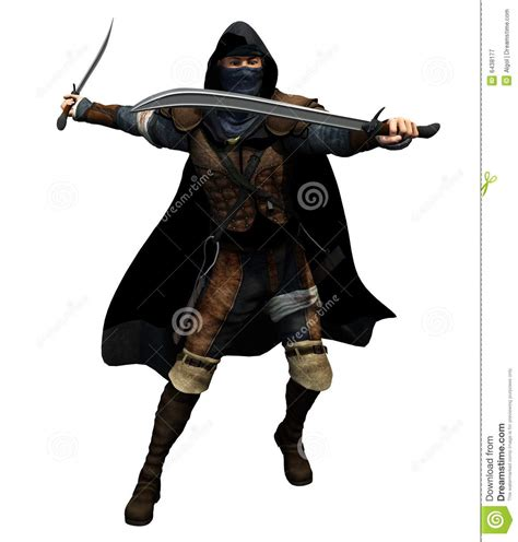 Fighter With Anime And Style Isolated On Black Background Rogue With Two Swords Royalty Free Stock Photography