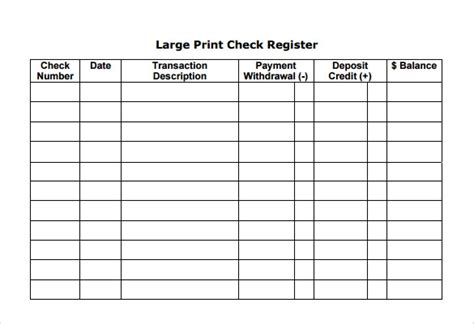 sample check register templates   ms word