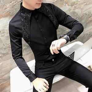 High Quality Korean Tuxedo Shirt Men Fashion 2018 Spring Summer Sexy Lace Men Shirt Long Sleeve ...