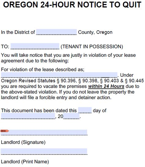 free oregon 60 day notice to vacate form 24 hour notice to vacate form oker whyanything co