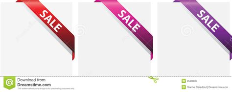 sale red corner ribbon royalty free stock photo image