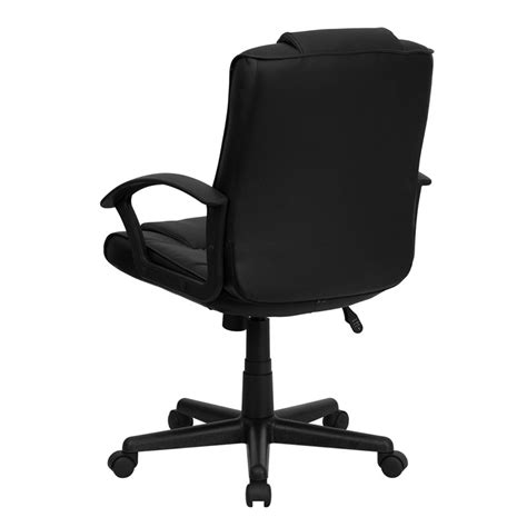 eco friendly black leather mid back plush executive office