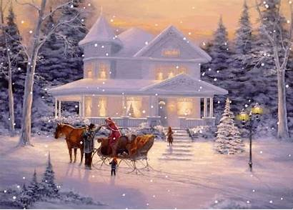 Sleigh Ride Christmas Winter Glitter Scenes Country