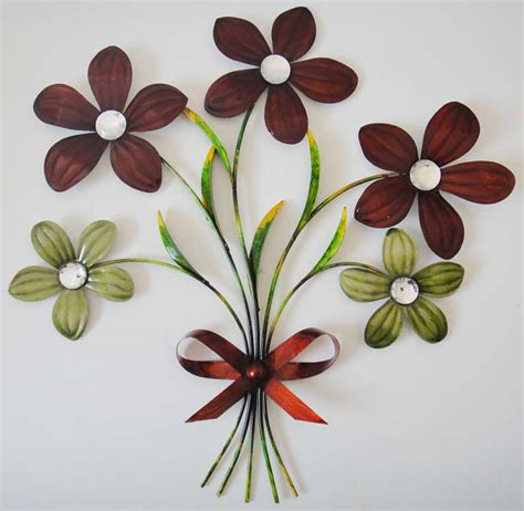 metal flower wall decor new contemporary metal wall decor or sculpture ribbon flower bunch ebay