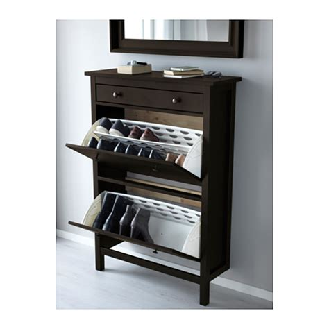 hemnes shoe cabinet with 2 compartments black brown 89x127
