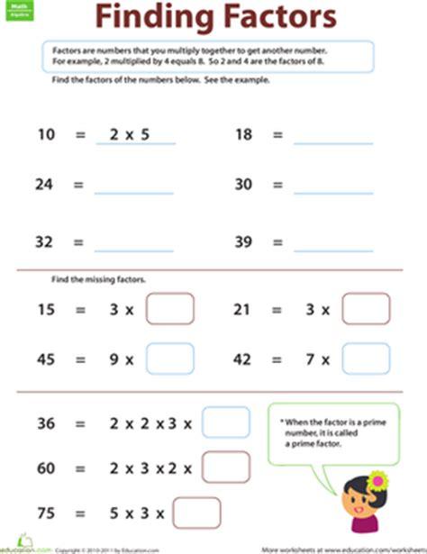 finding factors worksheet education