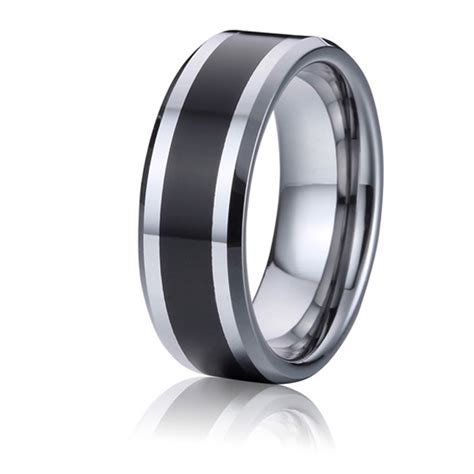 tungsten wedding bands mens rings black and silver color handmade jewelry usa style jewellery