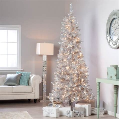 silver tinsel christmas tree nostalgic vintage inspired decor happiness is