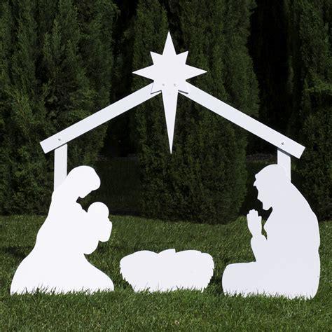 silhouette outdoor nativity set holy family scene