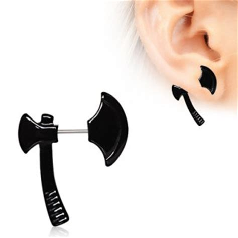 achat piercing lobe oreille en forme de hache noire pas cher