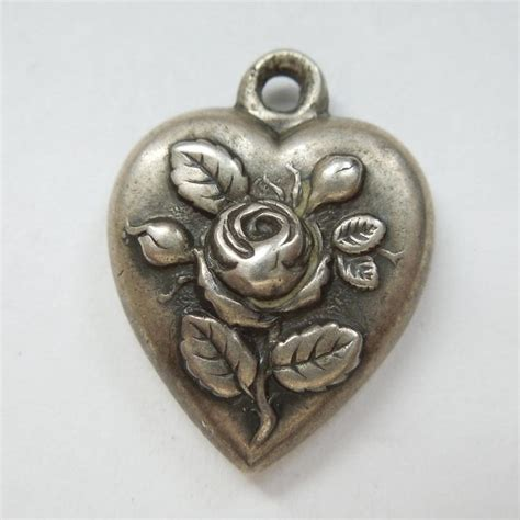victorian sterling silver puffy heart charm rose