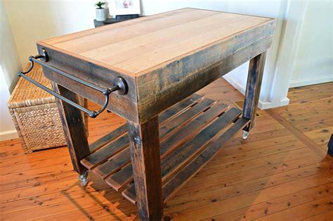 butchers block style island bench rustic on castor