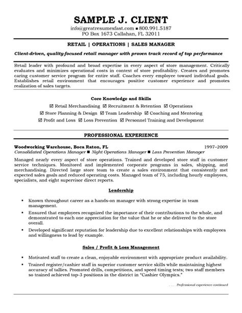 Resume For Retail by Resume Exle Inspiration Sales Resume Manager