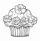 Coloring Cupcake Cupcakes Pages Cute Birthday Printable Cake Print Cakes Sheets Happy Colouring Hard Adult Drawing Flower Getdrawings Cards Getcolorings sketch template