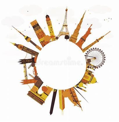 Landmarks Around Famous Travel International Vector Illustration