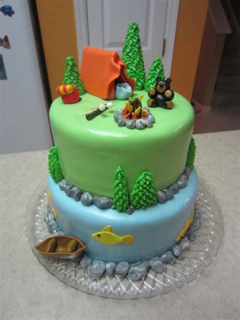 camping theme cakes  pinterest camping birthday cake