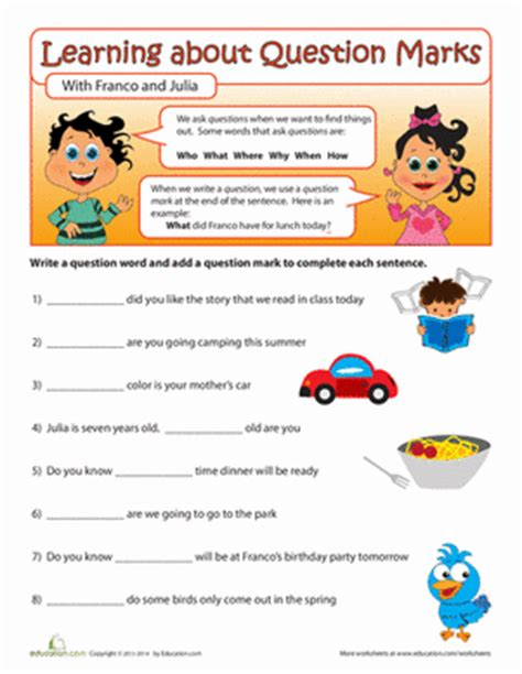 question words worksheet education