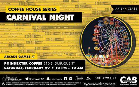 Opening hours for cafes & coffee shops in iowa city, ia. Carnival Night @ Poindexter   Iowa City Downtown District