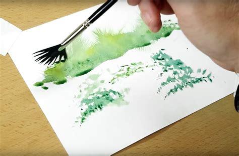 clever watercolor techniques   fan brush pics