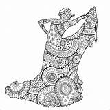 Flamenco Coloring Pages Dancer Patterns Zentangle Zen Adults Stress Anti Adult Paisley Shape Female Printable Justcolor sketch template
