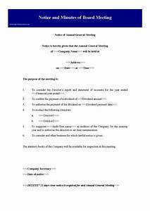 notice and minutes of board meeting preview With notice of board meeting template