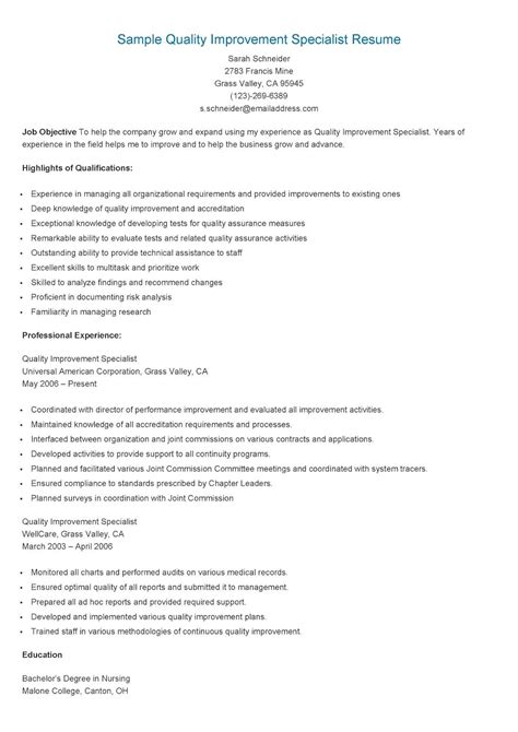 Quality Specialist Resume by Sle Quality Improvement Specialist Resume Resame
