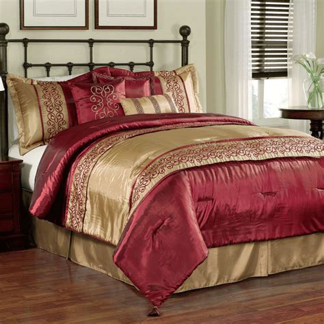 Tuscan Golden Red Silk Spanish Style Bedding With Black