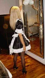 French Maid Sheer Black Stockings And Black High Heels