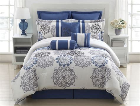 9 piece queen kasbah blue and gray comforter set grey