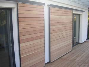 Volet Bois Sur Mesure : volets coulissant bois sur mesure ast modele h ~ Melissatoandfro.com Idées de Décoration